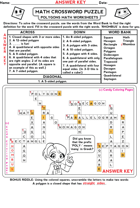 Free Math Games and Math Worksheets: Polygons Crossword Puzzles Mathematics